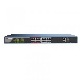 海康威视DS-3E1318P-E 百兆16口POE+2口千兆COMBO口网管交换机 网络交换机  海康16口交换机  支持PoE 8芯供电技术,降低网线电源损耗 •支持802.3af/at PoE标准 •支持重要端口数据保障 •支持EXTE