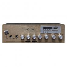 曼哈盾MK-120A定阻小功放60W峰值功率.自带MP3解码板功能、FM收音功能,只要插入存有MP3格式歌曲的U盘或SD卡,本机就可以自动播放音乐(即插即用),可为你省下其它音源设备。(定阻功放)音响功放 音箱功放          功放机