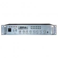 曼哈盾USB-150W6P功放蓝牙,150W额定输出功率.三路话筒. 三路线路输入一路线路输出(其中一路话筒输入有优先默音功能).自带报警声,提示音.定阻/定压五分区输出。带USB插口.SD插口.FM收音.遥控并带屏幕显示。标准2U机型音响