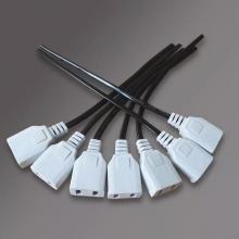 监控电源2项头 220V带线两孔母插头全封闭插母微小插座两孔插排板公母插头对接二