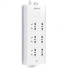 得力 18256 带开关电源插座3米6插位拖线板安全大功率电器接线板 白色插排