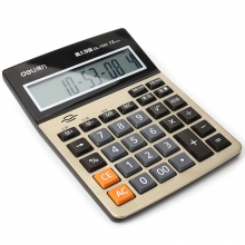 得力 1541a 语音型计算器 大号财务专用计算机办公用品12位按键 金色
