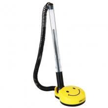 得力 6793 台笔 柜台商务微笑脸中性粘桌笔 带绳固定前台黑色签字笔 (黑)