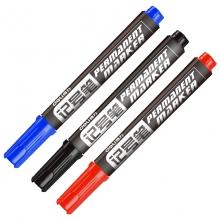 得力 思达6881 记号笔 勾线笔物流笔油性记号笔 单头黑色 10支/盒 (黑/蓝/红)