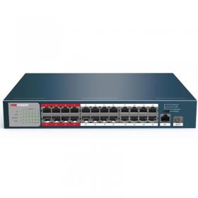 【正品行货 假一赔十  无质量问题不退不换】海康威视(HIKVISION)DS-3E0326P-E/M 非网管型POE交换机 延长网线传输至250m 26口百兆PoE二层非网管交换机