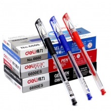 得力文具中性笔 6600ES 中性笔水笔 签字笔0.5mm办公学生用笔批发 12支/盒 碳素笔 黑/红/蓝色