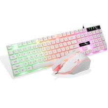 汇佰硕BT300键盘套装(U+U)白色发光冰甲系列游戏专用发光套装带配重!一个保换新