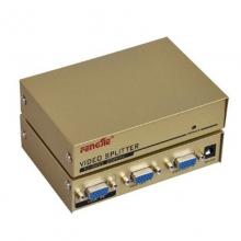 丰杰英创FJ-2002 二口200MHz VGA高清分配器土豪金 分屏器 适用于一台主机用两个显示器