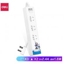 得力(deli)几米个性主题插排 USB插座 2USB2.4A+3孔 智能快充插线板/拖线板/排插 全长1.8米 18285特价仅此一批三年保换新