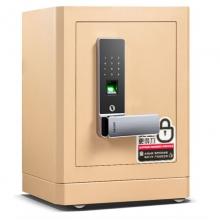 得力(deli)保险柜 家用防盗床头柜入柜式全钢保管箱 指纹电子密码保险箱 高52cm 金色黑色 4115