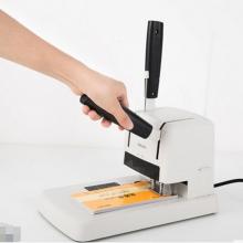 得力3878装订机财务会计文件账本小型热熔胶装柳管手动打孔机